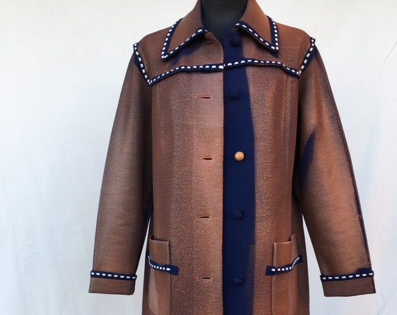Knitted Wool LOLA DARLING Coat Brick Red Hand Painted, White Stitching, Leather Effect Preview Fall 19 Overcoat Sustainable Wearable Art