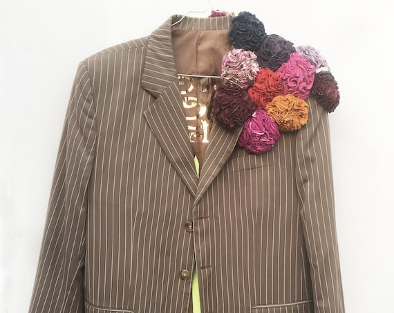 Beige Pinstripe LOLA Men Suit Dress Blazer with Recycled Flowers Embroidery Unisex, Gender Fluid Sustainable// Work in Progress