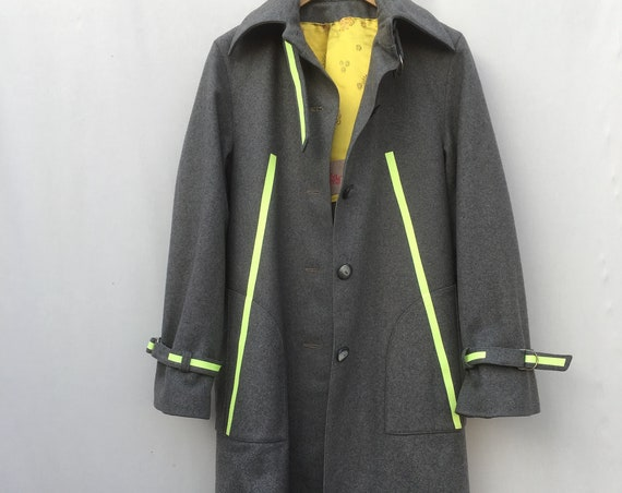 Glitter Yellow Stripes printed Loden Coat