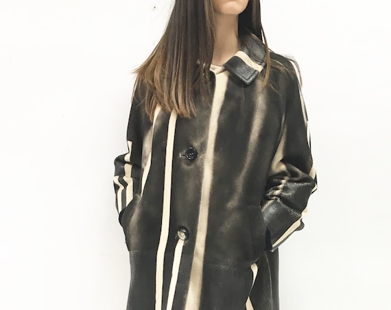 Sartorial Cashmere Coat LOLA DARLING Hand painted Black White Overcoat Rubber/Faux Leather Effect. Unique Wearable Art Jacket Certificated