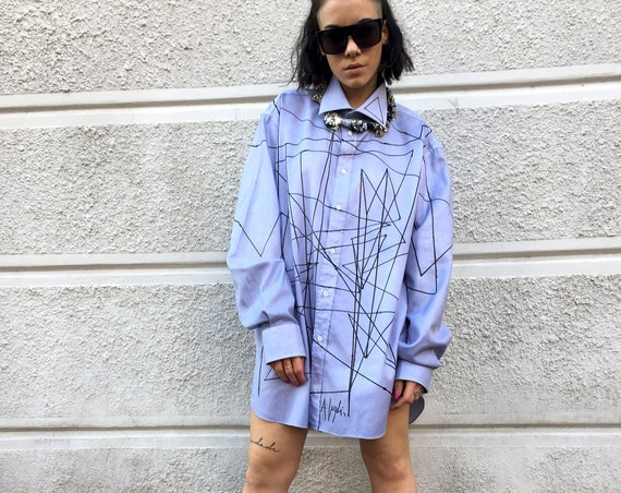 Boyfriend Painted LOLA DARLING Artwork Shirt Unique Light blue men's shirt painted with black lines by the artist A. Lugli Artwork Clothing