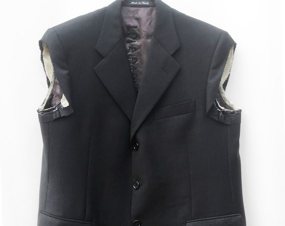 Sleeveless Gender fluid Black Tailored  LOLA DARLING Blazer Jacket