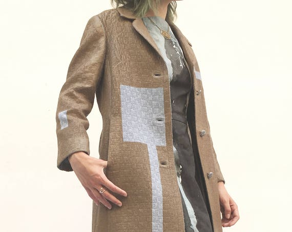 Hand Painted Brown Blue Coat LOLADARLING Jacket Wearable Art Wool Duster from Vintage 60s Coat Stripes Textured Fabric Leather Print Effect