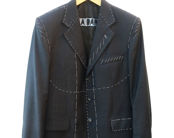 Very fine Dark gray tailored blazer hand embroidered basting style LOLA DARLING, spring fabric Merinos Extrafine wool, unisex, Gender fluid