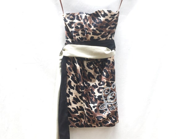 Leopard print LOLA DARLING Mini Dress. Black / beige Belt