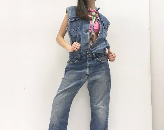 Denim Jumpsuit LOLA DARLING  Jeans Recycled Overall Vintage Lee Jeans + Wrangler Jacket Authentic Fading One-of-a-kind Recovery Handmade