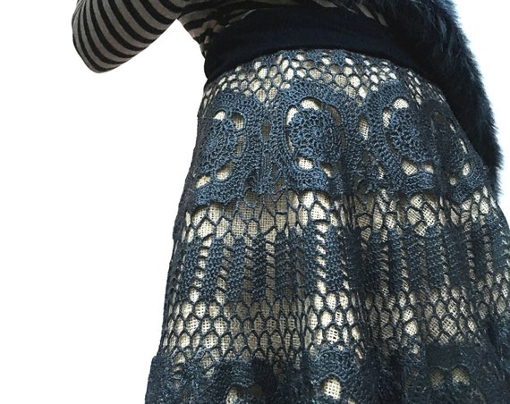 Rubberized Hand Crochet Hand painted Black Skirt LOLADARLING Cotton Lace Leather Effect Jute Black Satin Reversible Underskirt Italian made
