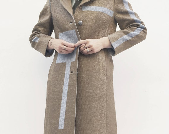 Unique Wearable Art LOLA DARLING Light Brown Hand-painted Redesigned Coat from Vintage Overcoat Blue Stripes Leather Effect Printed Inside