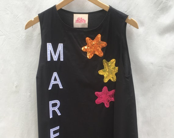Sequins stars embroidered LOLA DARLING MARE black cotton top