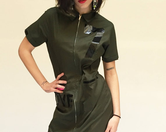 Printed Numbers Olive green vintage work uniform LOLA DARLING Dress