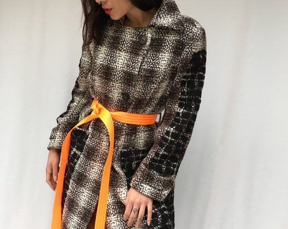 Blach and White Coat LOLA DARLING Black Embroidery Lace Prince of Wales Overcoat with Recycled Orange Belt Sustainable Fashion Made in Italy