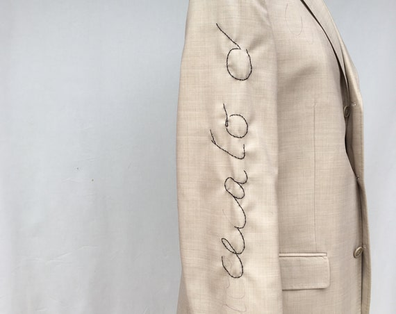 Embroidered Beige Canvas LOLA DARLING Blazer Test Italian Lirics Embroidery // BUY a Work in Progress and Save Money! //Unique Item Handmade