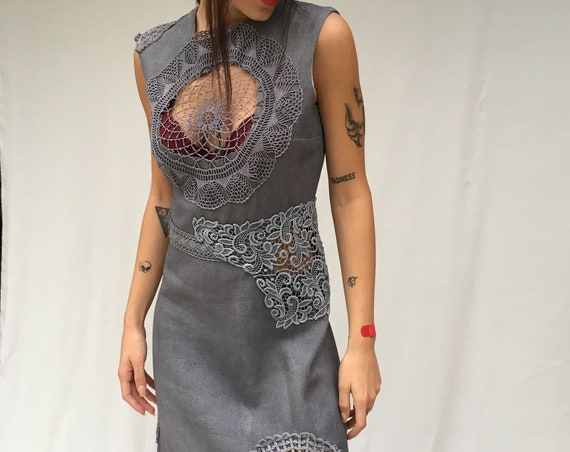 Gray Hand Dyed Gradient Crochet Inserts Dress LOLA DARLING