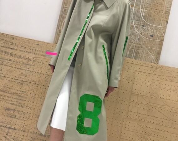 Printed 80s Gray Trenchcoat LOLA DARLING Sport Pop Long Jacket LOVE Numbers Stripes Reversible Burberry Theme Inner Lining Putty color