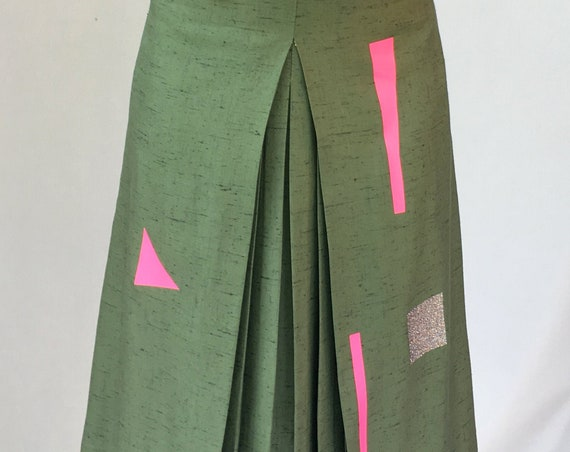 Green Linen Skirt geometric figures Printed LOLA DARLING pleat on the front
