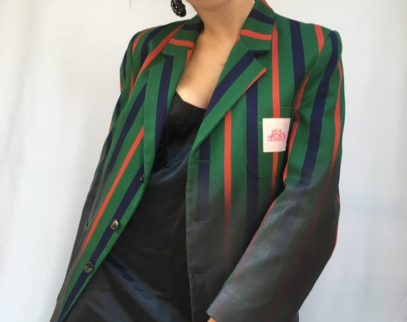 Striped Wool Jacket Leather Effect LOLA DARLING from Vintage Original English College Blazer Handmade Unique Sustainable WearableArt Fashion