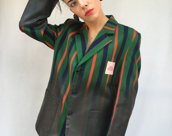 Hand Painted Women Jacket with Stripes LOLA DARLING from Original English College Blazer Leather Effect Unique Sustainable Wearable Art