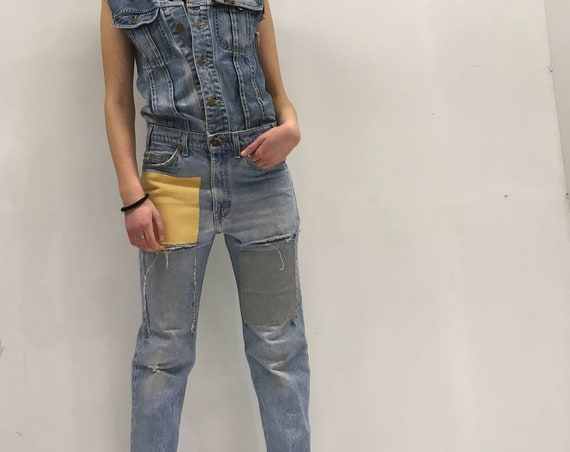 Denim Overall LOLA DARLING Jumpsuit Lee Jacket Levi's 517 Vintage Jeans Recovered Yellow and Gray Fabric Patch on Back Authentic Drawing