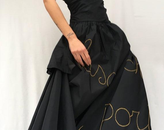 Statement Black Dress LOLA DARLING Italian Lyrics Song Embroidered + Recycled Plastic Net Taffettà Silk Long Dress Sartorial Wedding Party