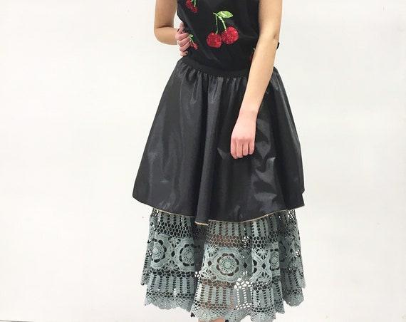 Reversible Crochet Skirt Hand Painted Black/ Blue sky Colors LOLA DARLING Full Skirt Cotton Lace Plastic Effect Jute + Black Satin Unique