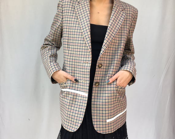 Prince of Wales Woman 80s Jacket LOLA DARLING Tartan Light Wool Blazer Plastic White Lines Printed Unique Spring Italian Made Colthing