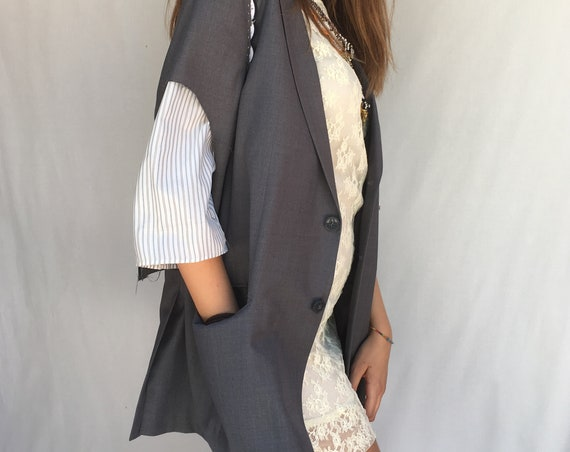 Short Sleeve LOLA DARLING Blazer Gray Jacket Raw-cut edges with trimmings Hand Finishing Unisex Clothing Limited Edition Hand Made in Italy