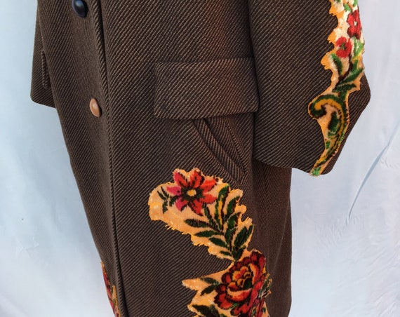 60s Wool Brown Coat Tapestry Embroidered LOLADARLING Printed Lining Overcoat Recovery Sustainable Clothes Italian Wearable Art Certified
