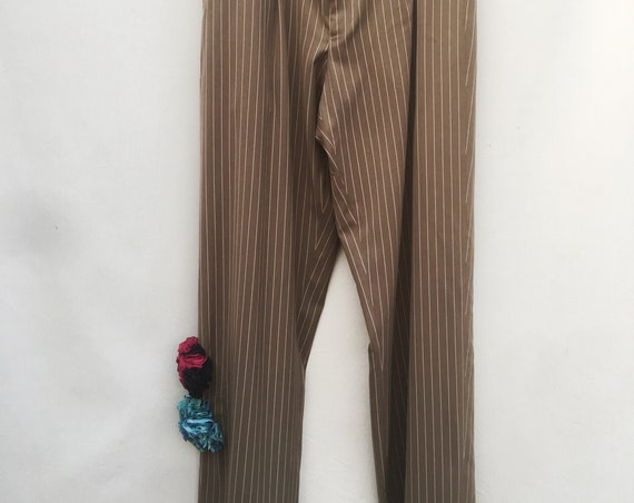 Pinstripe Cotton Suit Dress LOLA Beige Striped Tailored Trousers With Recycled Flowers. Gender Fluid Sustainable Fashion