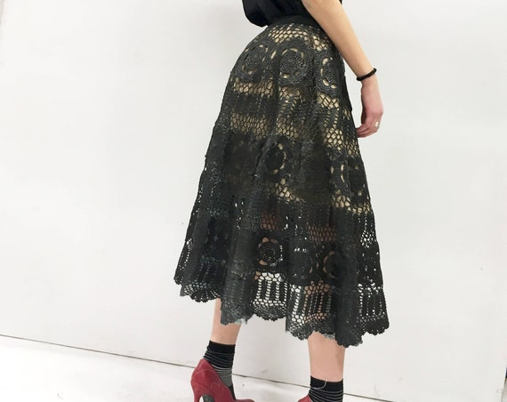 Two Skirt in One. Reversible Circle Hand Made Crochet Skirt LOLA DARLING Hand Painted Leather Effect Canvas Black Satin Unique Made in Italy