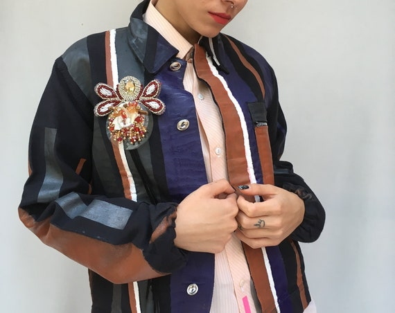 Hand Painted Stripes Jacket LOLA DARLING Cotton Leather Effect treatment DAW Brooch Wearable Art from Vintage Uniform Garment Unisex