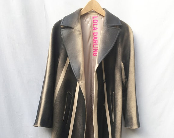 Gradient Black hand-painted and Laminated Trench Coat LOLA DARLING Jacket, Green Stripes, Vintage beige Base, Genderless SustainableCouture