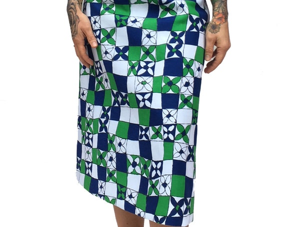 Graphic Squares Flowers Skirt LOLA DARLING Fine 60s Vintage Cotton Fabric A Style Flower Blu Green White Unique Italian Handmade Limited Ed