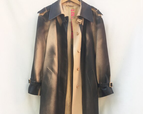 Unisex Long Heritage Trench Coat LOLA DARLING Gradient Hand Painted Black on Beige Rubberizing Treatment Genderless Sustainable Couture