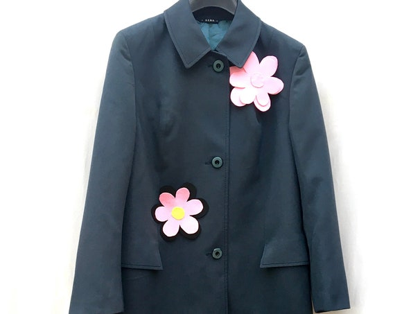 SPECIAL PRICE (for 4 days only) Deep Blue Spring Overcoat Trench Coat Jacket with flowers