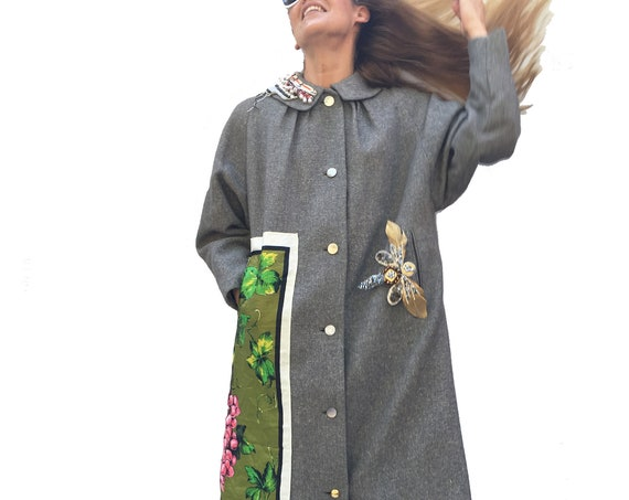 Ladies' Overcoat in Gray Wool Canvas with Leaves and Grapes LOLA DARLING Bijoux Pins by DAW Wearable Art Haute Contemporary Italian Couture