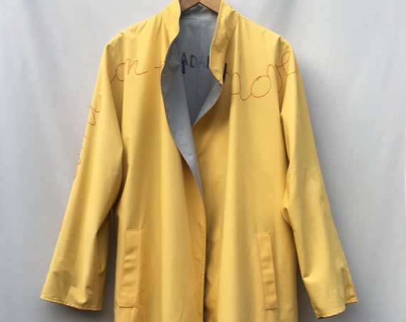 Reversible Printed and Hand Embroidered LOLA DARLING Yellow Gray Raincoat Trench Coat