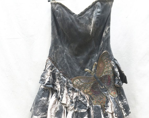 Gray painted Bustier Dress. Butterfly embroidery