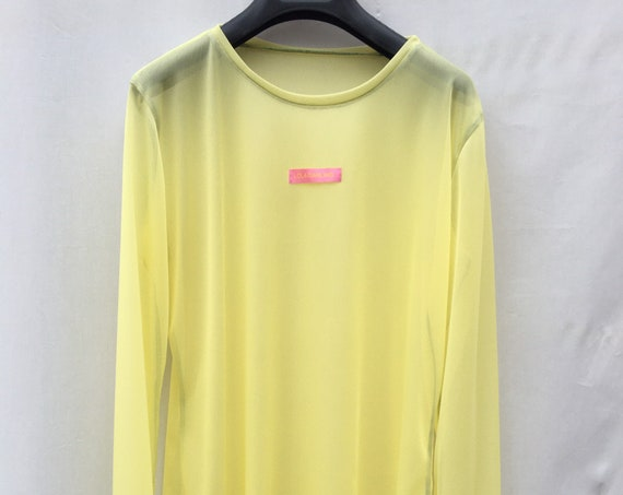 Yellow long sleeve recycled see-through fabric t-shirt
