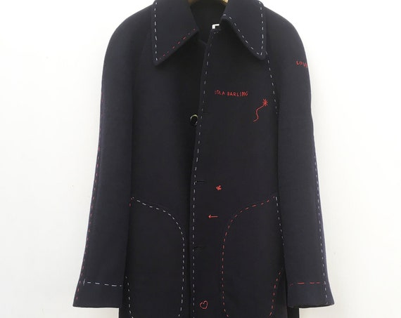 Man Woman Embroidered Blue Coat LOLA DARLING White Red Hand Stitching. Wool Cloth Jacket Dubbed Fabric no reverse Seams. Genderless Unique