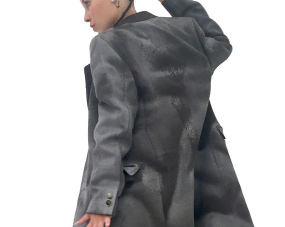 Gender Neutral Coat LOLA DARLING Brown/Gray Sartorial Hand Painted Overcoat Wearable Art Genderless Italian Sustainable Unisex Haute Couture