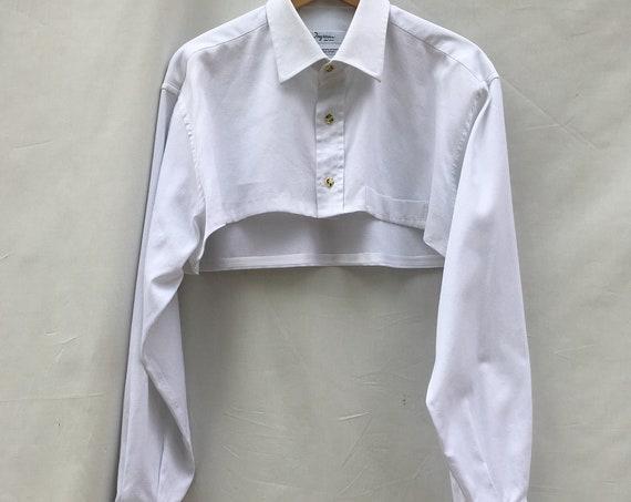 White Short Fancy Cotton Shirt LOLA DARLING Shrug Long Sleeves Men's Shirt for Women Gender Fluid Unisex Sartorial Hand Made in Italy