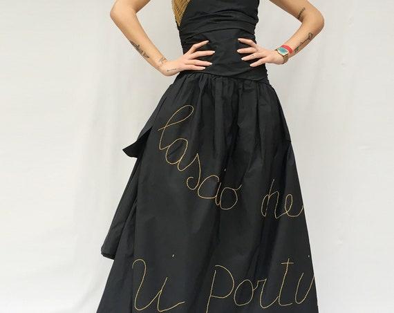 Black Silk Taffeta Long Dress LOLA DARLING Yellow Embroidered Phrase