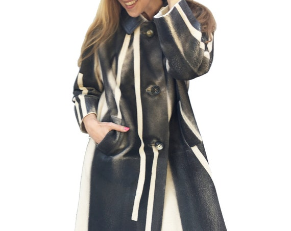 Black/White Graphic Hand Painted Cashmere Coat LOLA DARLING Sartorial Woman Overcoat Wearable Art from Vintage Contemporary Haute Couture