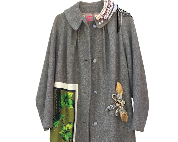 Gray Wool Overcoat with Leaves and Grapes Canvas Embroidered LOLA DARLING Bijoux Pins by DAW Wearable Art Haute Contemporary Italian Couture
