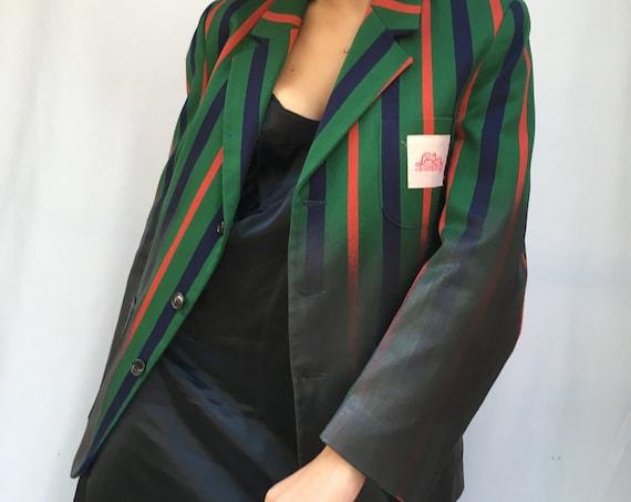 Black Painted Striped College Preppy Blazer