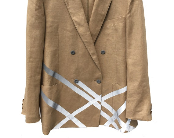 Him Her Double-breasted Jacket with Reflective Stripes LOLA DARLING Beige Linen Blazer Sustainable Couture Oversize Men's Jacket for Woman