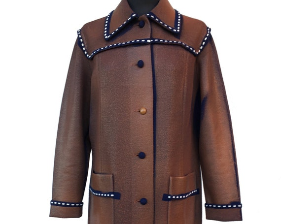Knitted Blue Brown Coat LOLA DARLING Hand Painted and Laminated Wool Overcoat Long Jacket White Stitching details 100% Sustainable Clothing