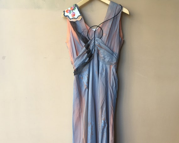 Gradient Hand Painted Long Dress LOLA DARLING Blue Orange Laminated Chiffon Embroidery Jewelry Evening Wedding Formal Sustainable Couture