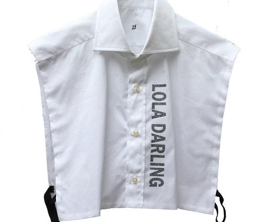 Vintage White Half Shirt  LOLA DARLING  Collar Logo Silver Glitter Printed