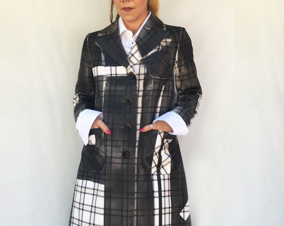 Hand painted Duster CoatLOLA DARLING black and white Prince of Wales trench coat gender fluid clothing
